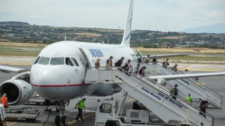 Αεροδρόμιο Μακεδονία: Με αψίδα νερού η υποδοχή της πρώτης πτήσης εξωτερικού