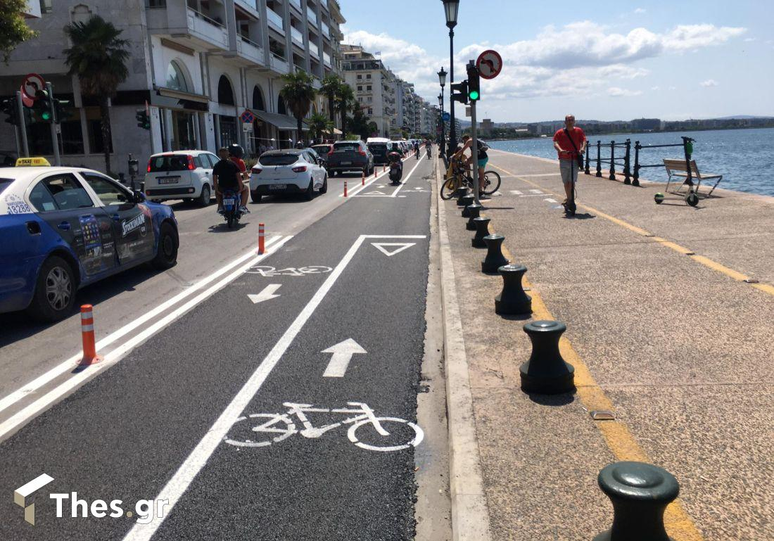 Θεσσαλονίκη: Μπήκαν και τα πασαλάκια στον ποδηλατόδρομο (ΦΩΤΟ), φωτογραφία-4