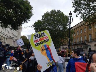 """Λονδίνο τώρα: Διαμαρτυρία των Αρμενίων για το Ναγκόρνο Καραμπάχ και με ελληνικό """"χρώμα"""" (ΦΩΤΟ)"""