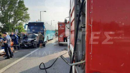 Σέρρες: Σύγκρουση λεωφορείου με φορτηγό και ΙΧ – Εγκλωβίστηκαν τρία άτομα (ΦΩΤΟ)