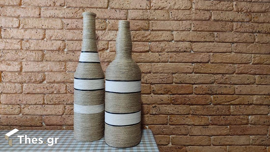 όμορφα καλοκαιρινά διακοσμητικά μπουκάλια με σπάγγο