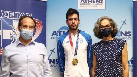 Επέστρεψε στην Αθήνα με το χρυσό μετάλλιο ο Μίλτος Τεντόγλου