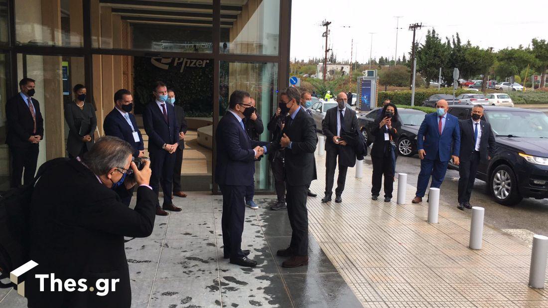 Επίσκεψη Μητσοτάκη στη Θεσσαλονίκη εγκαίνια hub Pfizer Μπουρλά