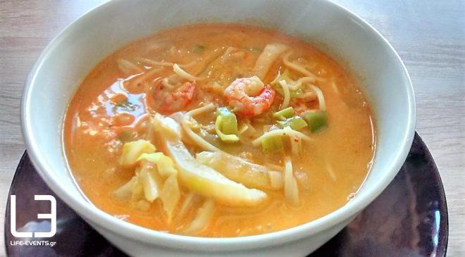 Πικάντικη νηστίσιμη σούπα με γαριδούλες και γάλα καρύδας